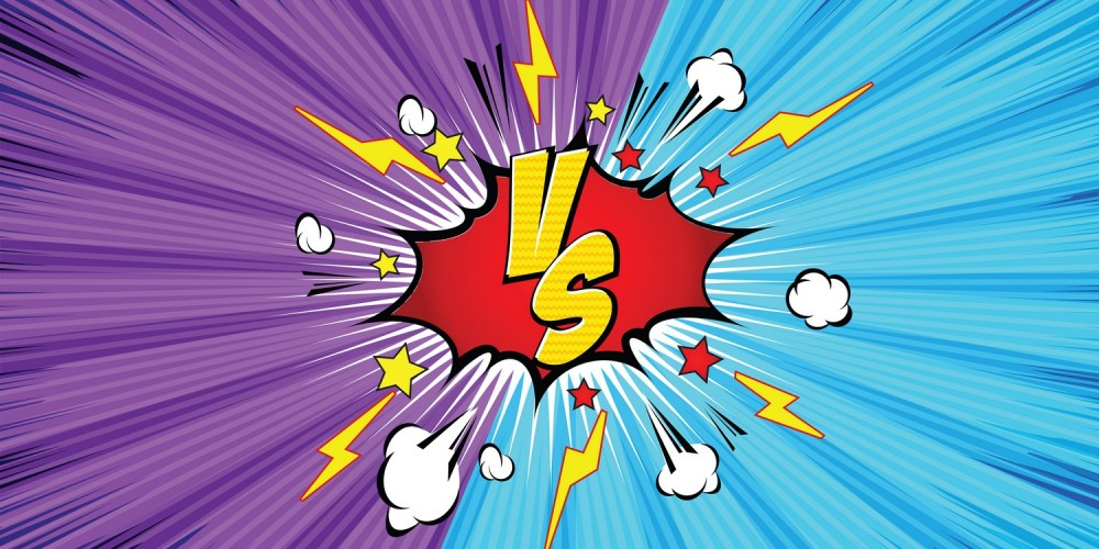 """Lila-blaue Comic-Zeichnung eines Kampfes oder Explosion mit den Buchstaben """"vs"""""""
