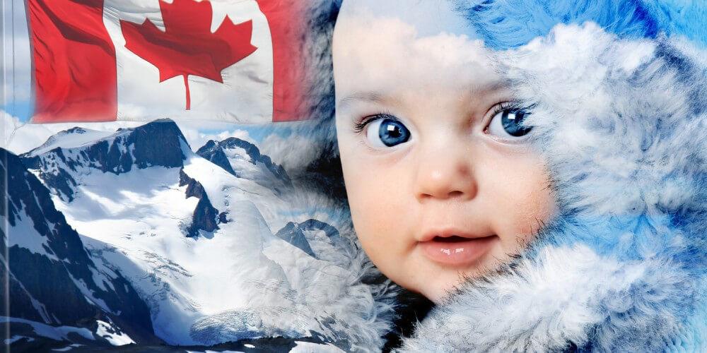 Baby in Fellkapuze neben kanadischer Flagge