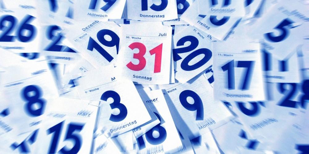 Kalenderblätter mit roter 31