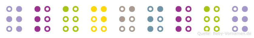 Wladislaw in Blindenschrift (Brailleschrift)