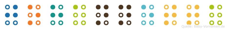 Johannetta in Blindenschrift (Brailleschrift)