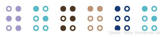 Wencke in Blindenschrift (Brailleschrift)