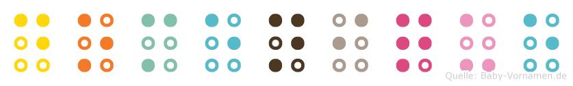 Domenique in Blindenschrift (Brailleschrift)