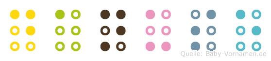 Danuse in Blindenschrift (Brailleschrift)