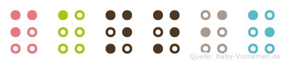 Fannie in Blindenschrift (Brailleschrift)