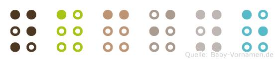 Naciye in Blindenschrift (Brailleschrift)