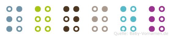 Saniel in Blindenschrift (Brailleschrift)
