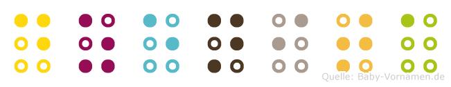 Dzenita in Blindenschrift (Brailleschrift)