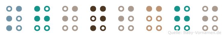Shinichi in Blindenschrift (Brailleschrift)