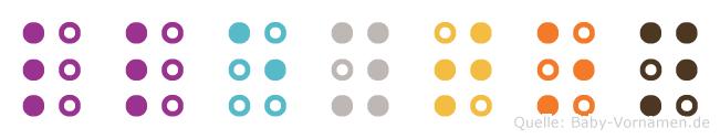 Lleyton in Blindenschrift (Brailleschrift)