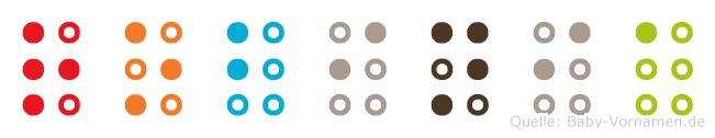 Robinia in Blindenschrift (Brailleschrift)
