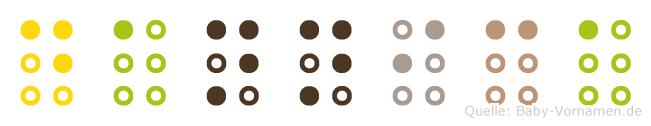 Dannica in Blindenschrift (Brailleschrift)