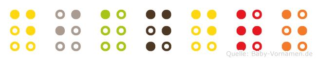Diandro in Blindenschrift (Brailleschrift)