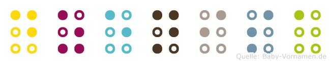 Dzenisa in Blindenschrift (Brailleschrift)