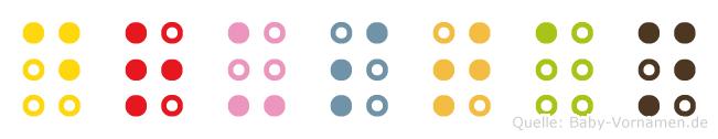 Drustan in Blindenschrift (Brailleschrift)
