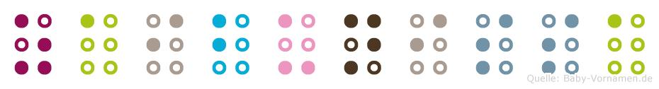 Zaibunissa in Blindenschrift (Brailleschrift)