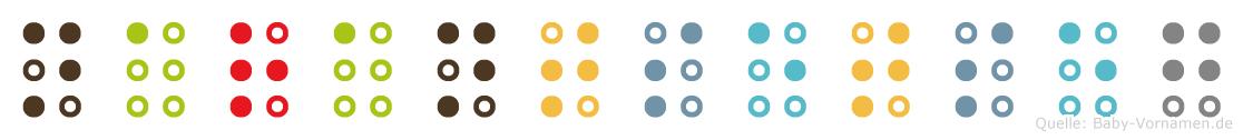 Narantsetseg in Blindenschrift (Brailleschrift)