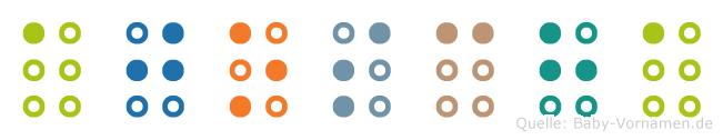Ajoscha in Blindenschrift (Brailleschrift)