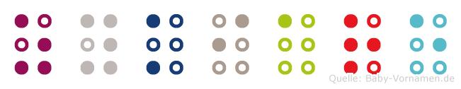 Zykiare in Blindenschrift (Brailleschrift)