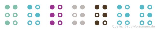 Melynee in Blindenschrift (Brailleschrift)