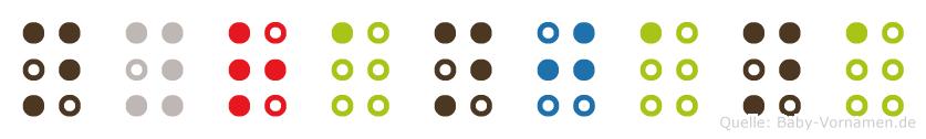 Nyranjana in Blindenschrift (Brailleschrift)