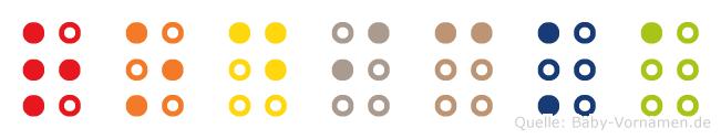 Rodicka in Blindenschrift (Brailleschrift)