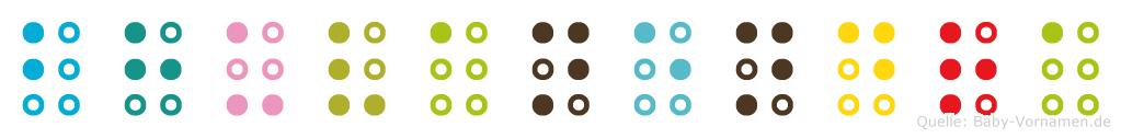 Bhuvanendra in Blindenschrift (Brailleschrift)