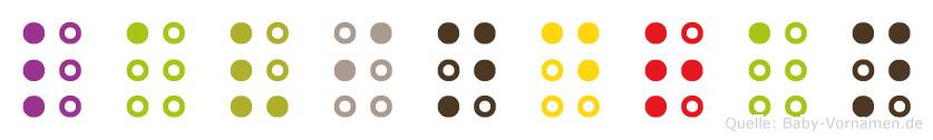 Lavindran in Blindenschrift (Brailleschrift)