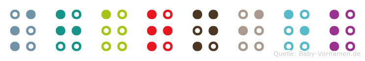 Sharniel in Blindenschrift (Brailleschrift)