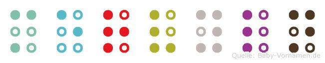 Mervyln in Blindenschrift (Brailleschrift)
