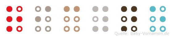 Ricyne in Blindenschrift (Brailleschrift)