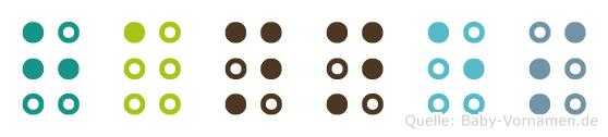 Hannes in Blindenschrift (Brailleschrift)