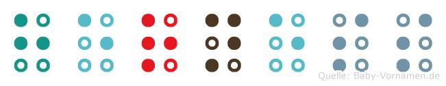 Herness in Blindenschrift (Brailleschrift)