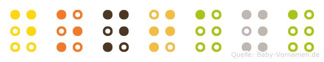 Dontaya in Blindenschrift (Brailleschrift)