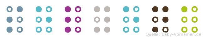 Selyena in Blindenschrift (Brailleschrift)