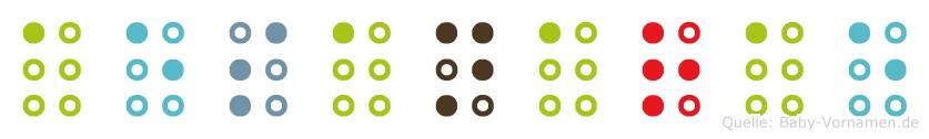 Aesanarae in Blindenschrift (Brailleschrift)