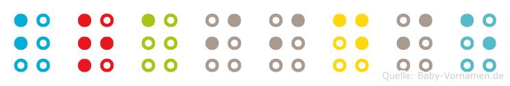 Braiidie in Blindenschrift (Brailleschrift)