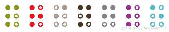 Pringle in Blindenschrift (Brailleschrift)