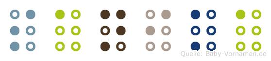Sanika in Blindenschrift (Brailleschrift)