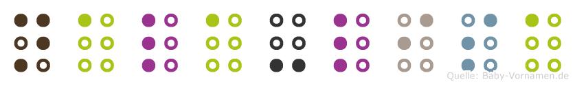 Nala-Lisa in Blindenschrift (Brailleschrift)