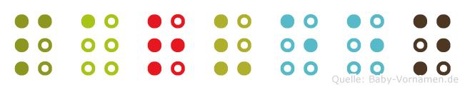 Parveen in Blindenschrift (Brailleschrift)