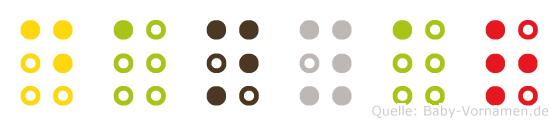 Danyar in Blindenschrift (Brailleschrift)