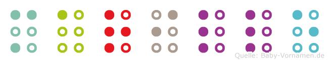 Marille in Blindenschrift (Brailleschrift)