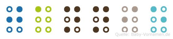 Jannie in Blindenschrift (Brailleschrift)