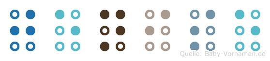 Jenise in Blindenschrift (Brailleschrift)