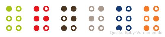 Arniko in Blindenschrift (Brailleschrift)