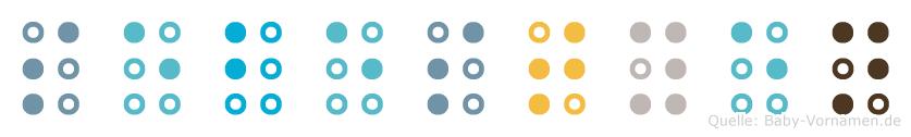 Sebestyen in Blindenschrift (Brailleschrift)