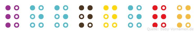 Leendert in Blindenschrift (Brailleschrift)