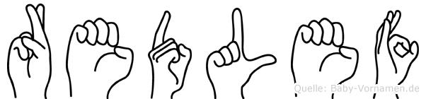 Redlef im Fingeralphabet der Deutschen Gebärdensprache