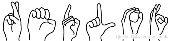 Redlof im Fingeralphabet der Deutschen Gebärdensprache